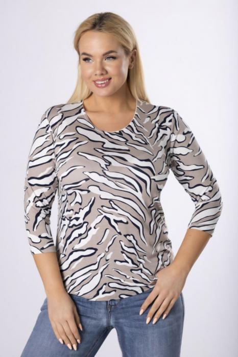 Bluza animal print cu maneca 3/4 bej - Marimi mari ieftine 0