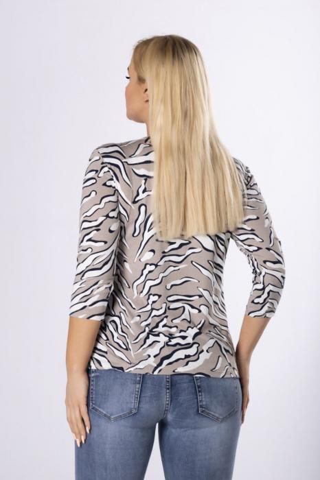 Bluza animal print cu maneca 3/4 bej - Marimi mari ieftine 1