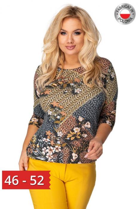 Bluza casual cu imprimeu pentru femei plinute 0