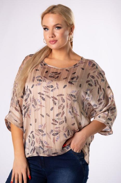 Bluza casual dama cu imprimeu si fir auriu [0]