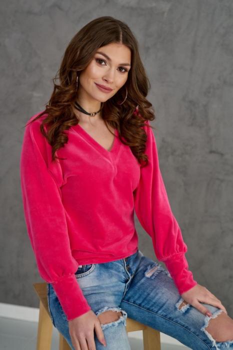 Bluza catifea rosie cu anchior si maneca lunga 0