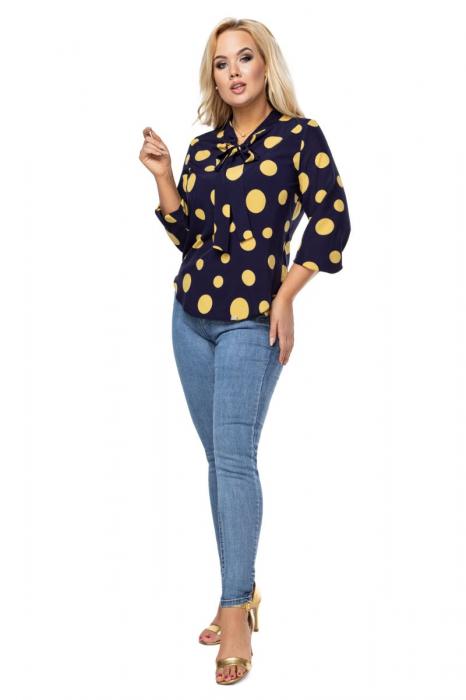 Bluza eleganta dama cu buline galbene - Marimi mari 1