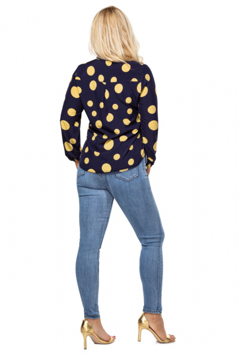 Bluza eleganta dama cu buline galbene - Marimi mari 2