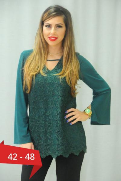 Bluza dantela verde smarald Karina - Bluze elegante de seara XXL 0