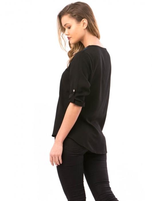 Bluze de dama ieftine - Bluza de dama cu broderie florala Maria negru 2