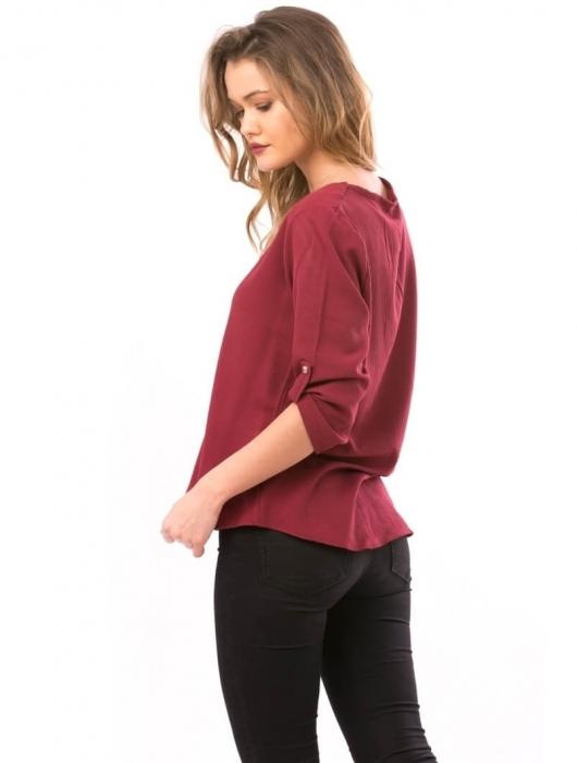 Bluze de dama ieftine - Bluza de dama cu broderie fluturi Maria bordeaux 2