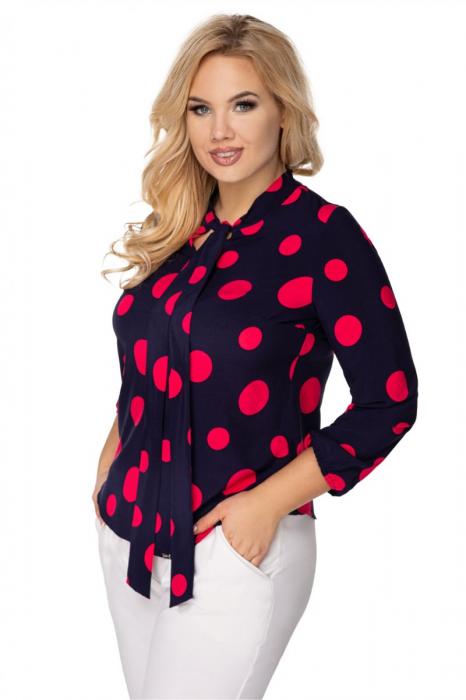 Bluza eleganta bleumarin cu buline rosii - Bluze marimi mari [0]