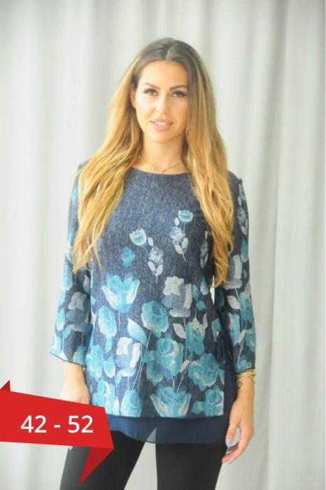 Bluze elegante XXL - Bluza albastra eleganta marimi mari Karina 0