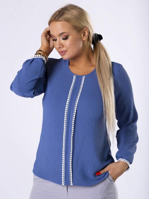 Bluza eleganta cu insertie dantela albastru - Marimi mari 0
