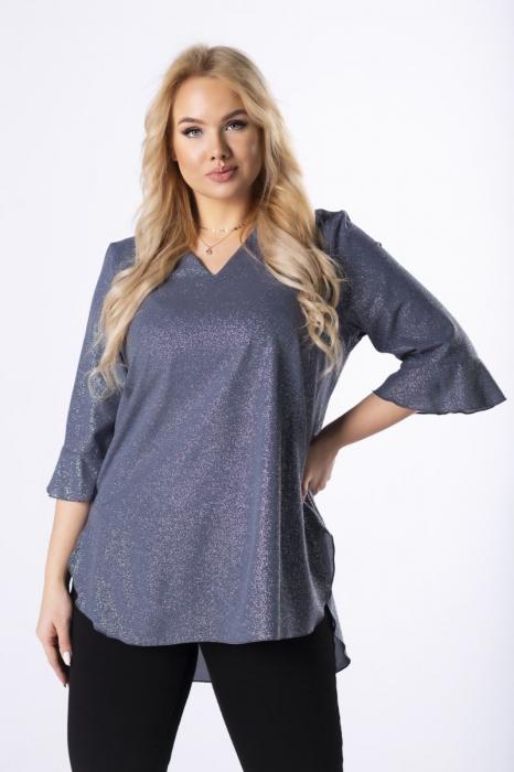Bluza eleganta dama albastra din brocart - Bluze marimi mari [0]