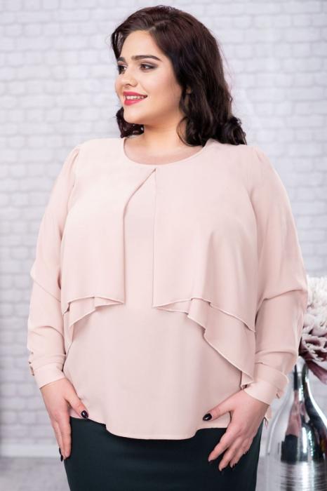 Bluza eleganta dama din voal crem Mileva - Marimi mari [0]