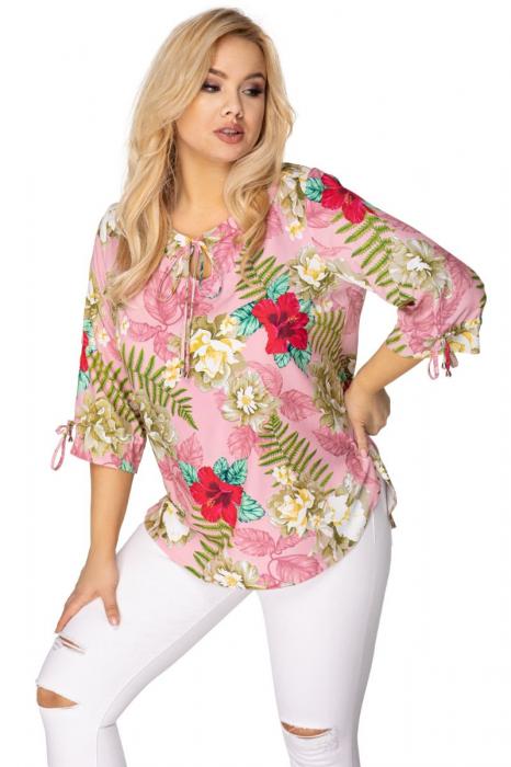 Bluza eleganta dama roz cu imprimeu floral 0