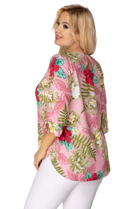 Bluza eleganta dama roz cu imprimeu floral 1