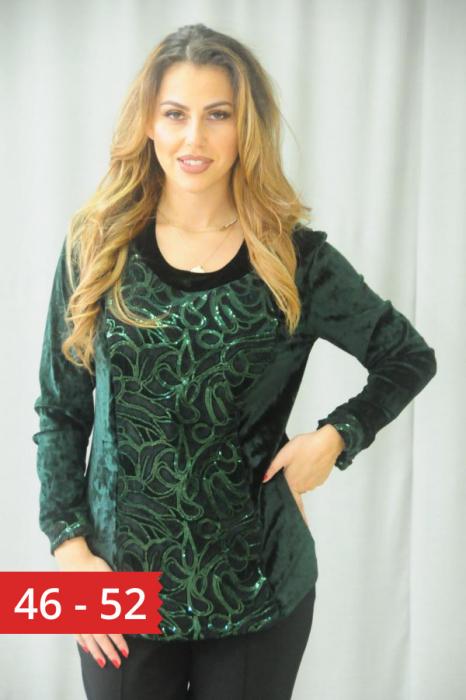 Bluza eleganta din catifea cu paiete verde smarald 0
