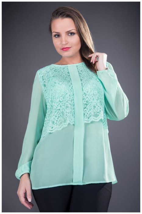 Bluze elegante de seara - Bluza dantela si voal verde Ofelia 0
