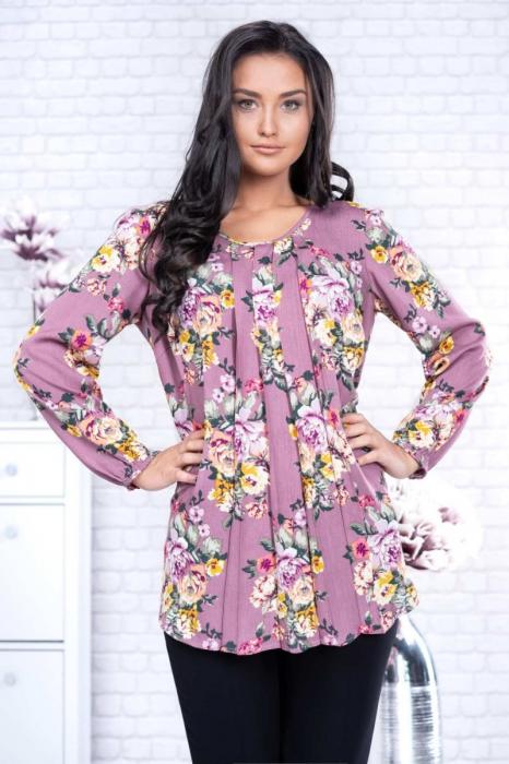 Bluza eleganta dama voal roz cu imprimeu flori - Marimi mari 0