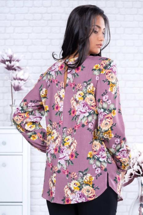 Bluza eleganta dama voal roz cu imprimeu flori - Marimi mari 1