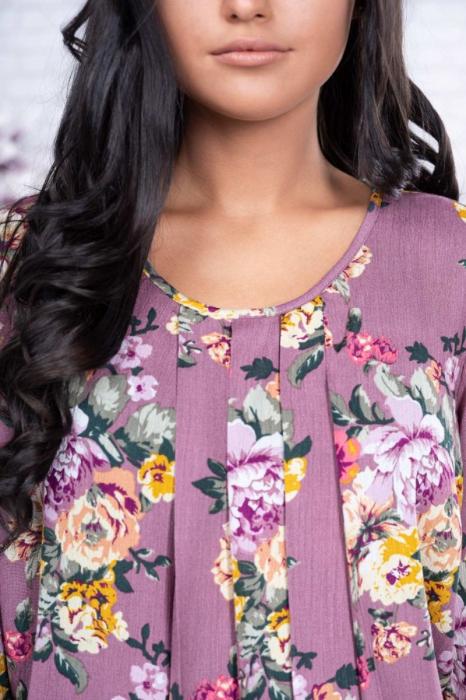 Bluza eleganta dama voal roz cu imprimeu flori - Marimi mari 2