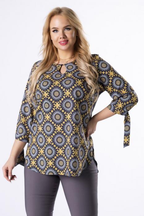 Bluza lunga dama cu maneci 3/4 -  Bluze marimi mari 3