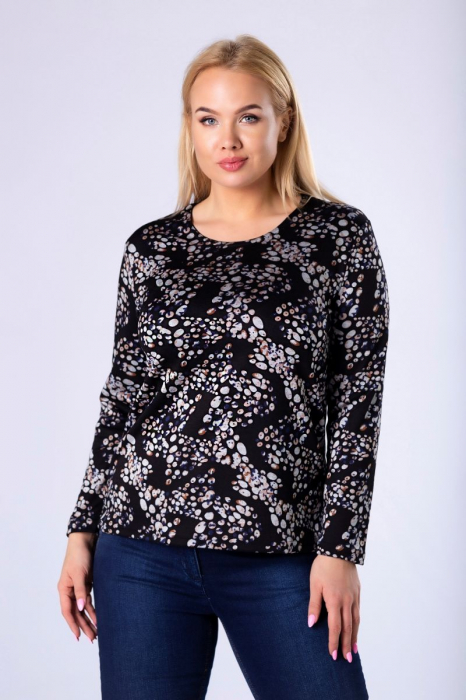 Bluza neagra casual din tricot cu maneci lungi - Marimi mari [0]