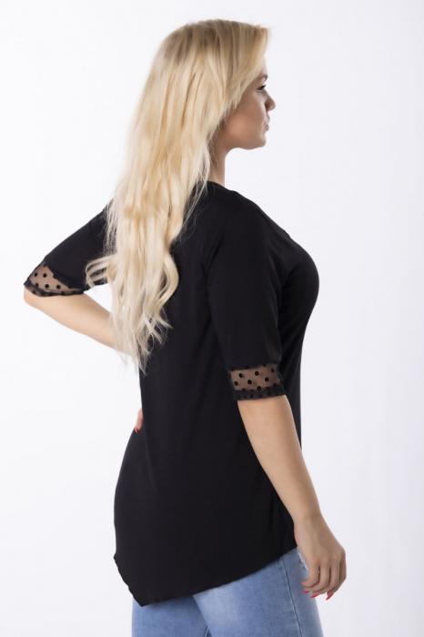 Bluza neagra eleganta asimetrica cu insertie de plasa [1]
