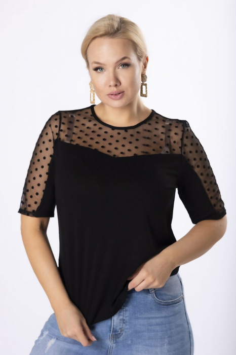 Bluza neagra eleganta cu maneca scurta cu buline din catifea [1]