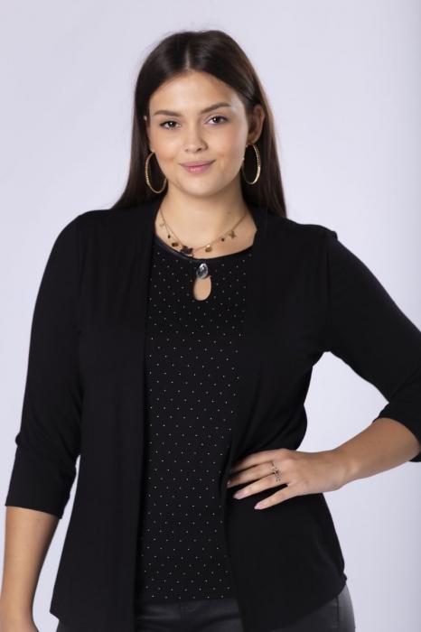 Bluza neagra eleganta cu blazer - Bluze dama marimi mari 1
