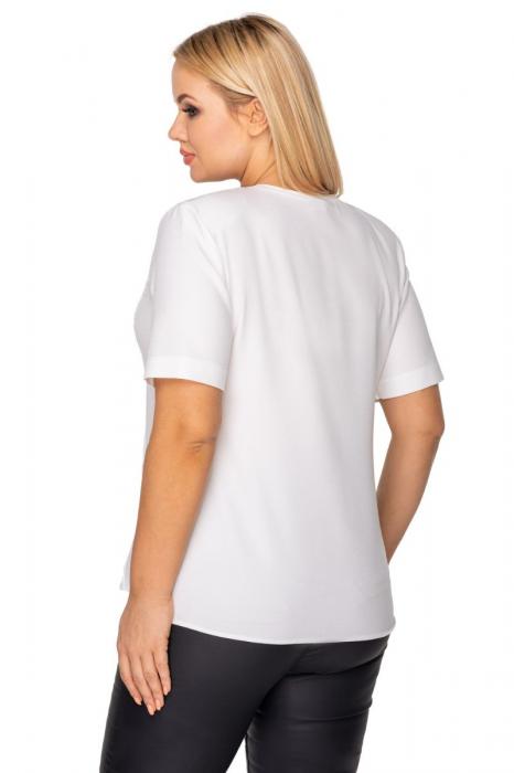 Bluza alba eleganta cu dantela si maneca scurta 1