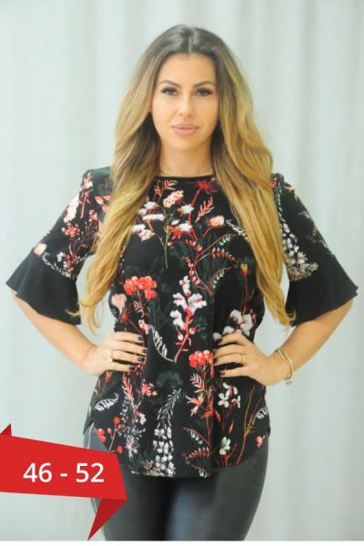 Bluza neagra eleganta imprimeu floral Karina - Bluze dama ieftine 0