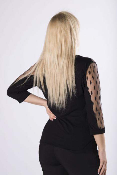 Bluza neagra eleganta cu maneci din plasa transparenta 1