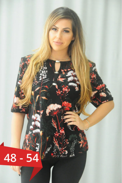 Bluza neagra cu flori marimi mari Karina - Bluze dama ieftine 0
