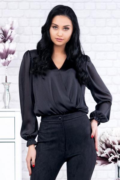Bluza neagra tip body Eve - Bluze ieftine dama marimi mari 2