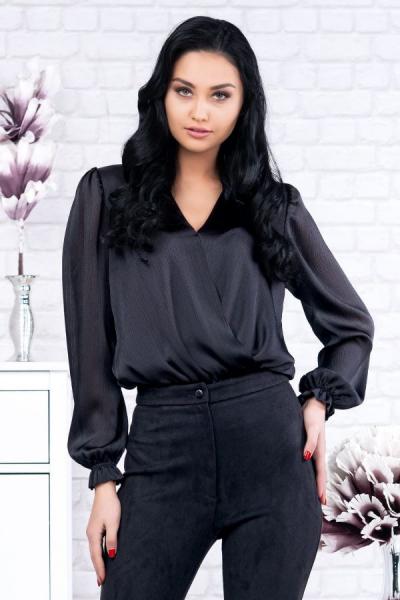 Bluza neagra tip body Eve - Bluze elegante marimi mari 1