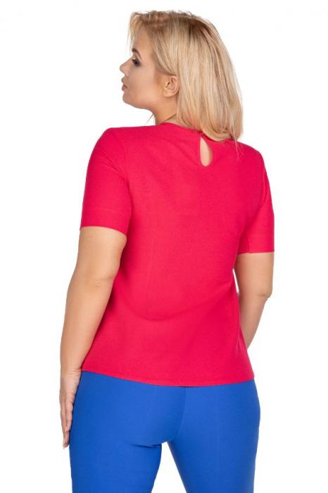 Bluza rosie din voal cu maneca scurta 1
