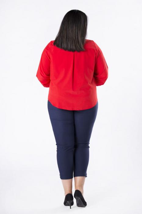 Bluza rosie eleganta cu esarfa - Bluze marimi mari 2