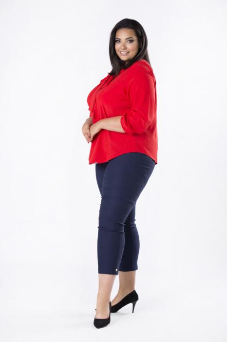 Bluza rosie eleganta cu esarfa - Bluze marimi mari 1