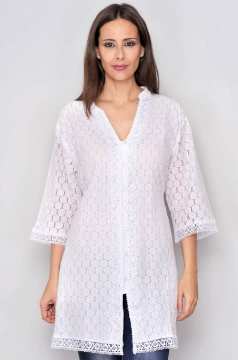 Bluza de vara - Bluza tip tunica de vara din bumbac cu broderie, alb 0