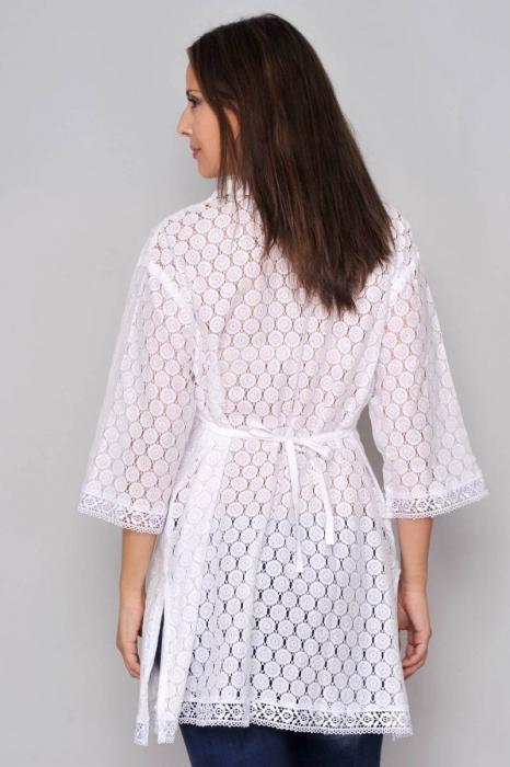 Bluza de vara - Bluza tip tunica de vara din bumbac cu broderie, alb 2