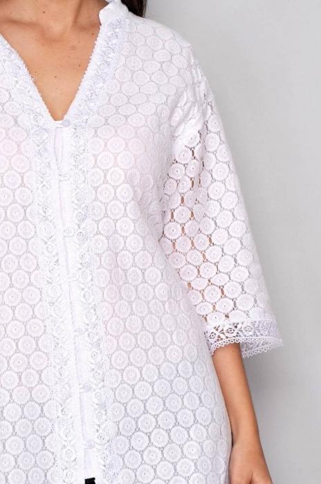 Bluza de vara - Bluza tip tunica de vara din bumbac cu broderie, alb 3