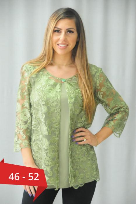 Bluze elegante dama - Bluza verde cu dantela marimi mari Karina 0