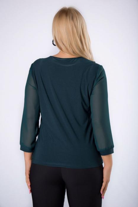 Bluza verde eleganta din voal cu volane - Bluze marimi mari [1]