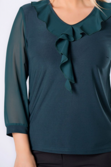 Bluza verde eleganta din voal cu volane - Bluze marimi mari [2]