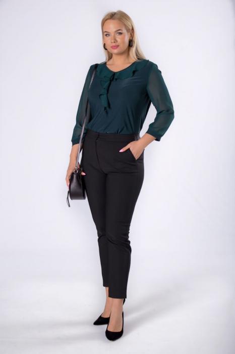 Bluza verde eleganta din voal cu volane - Bluze marimi mari [3]