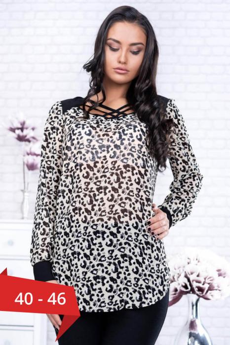 Bluze dama ieftine - Bluza voal eleganta animal print Catia 0