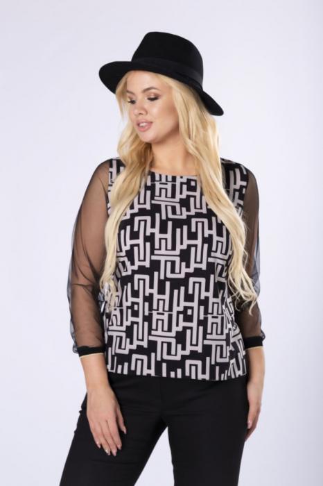 Bluza eleganta dama cu maneca din tulle si imprimeu negru/alb 2