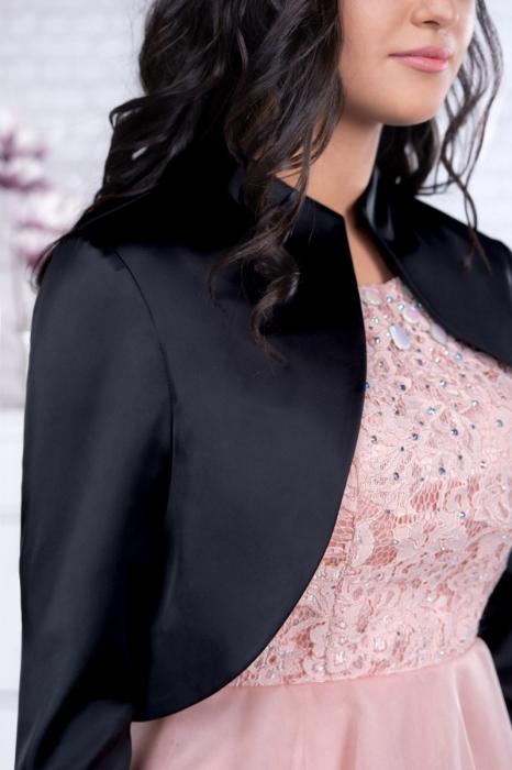 Bolero elegant dama din saten negru - Marimi mari [2]
