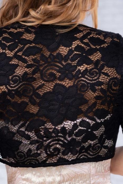 Bolerouri din dantela - Bolerou elegant din dantela marimi mari negru 3