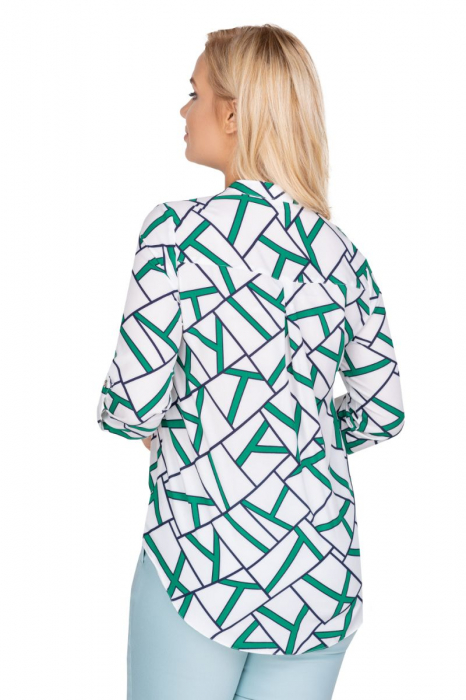 Camasa alba dama cu maneca lunga si imprimeu verde 1