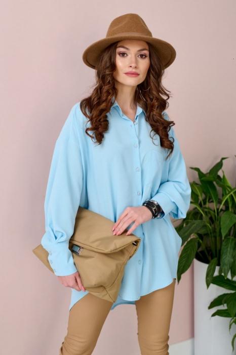 Camasa lunga dama, croi asimetric si maneci bufante bleu 1