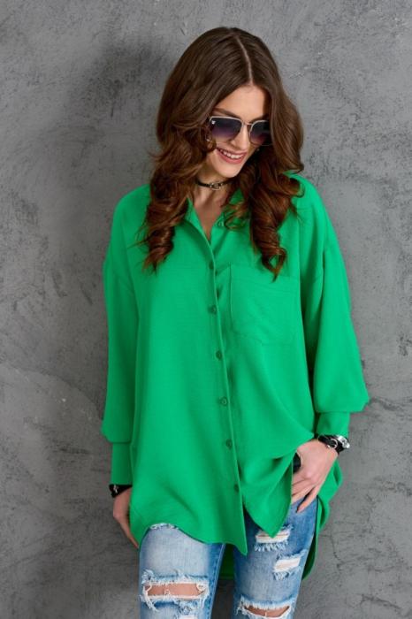 Camasa lunga dama cu croiala asimetrica verde 0